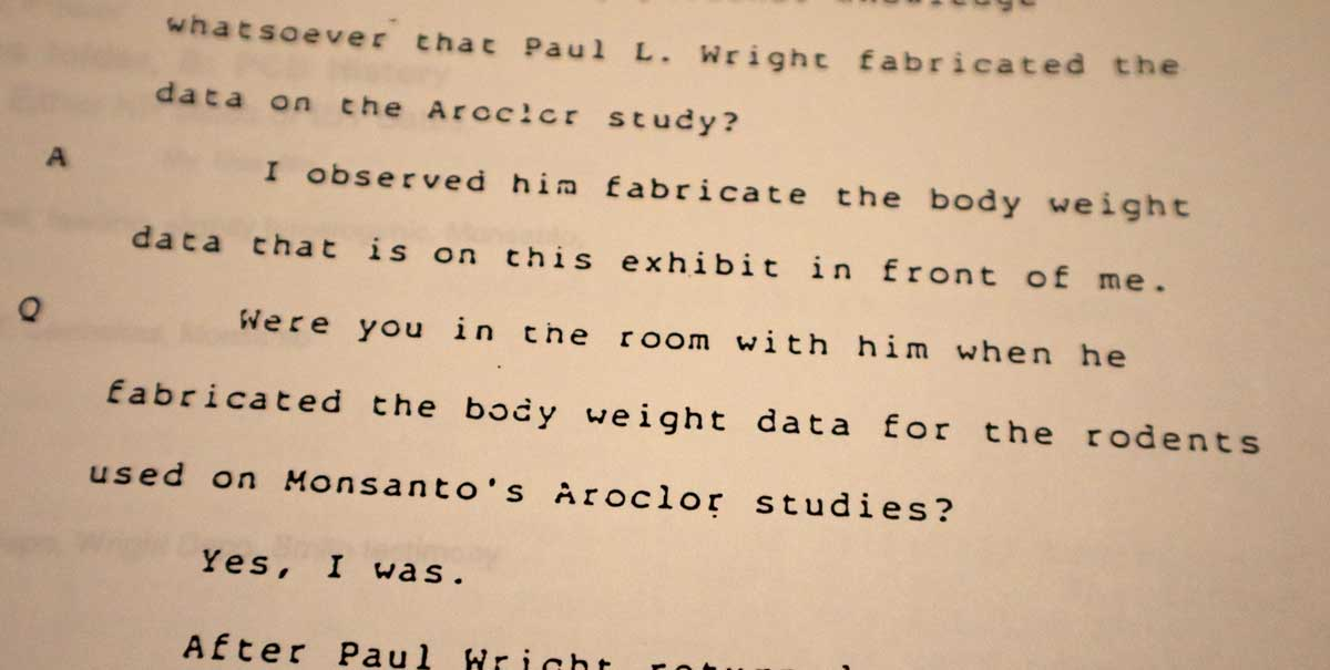 From the civil testimony of toxicologist Phillip S.Smith in a lawsuit against Monsanto for fraud in safety studies used for FDA and EPA certifications.